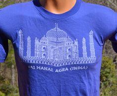 vintage t-shirt 80s TAJ MAHAL india agra indian souvenir tourist tee shirt Small Medium 70s by skippyhaha