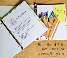 Road Trip Activity binders for tweens and teens – Travel Road Trip Activities, Road Trip Games, Family Activities, Road Trip With Kids, Family Road Trips, Family Vacations, Travel Scrabble, Road Trip Essentials, Apps