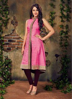 Pink and Brown Silk Lace Decent Party Wear Salwar Kameez