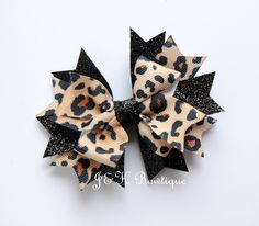 Leopard print Hair bow, Leopard hair bow, animal print hair bow, hair bows for girls, toddler bows, big bows, large bow, big bows, zoo bow Big Hair Bows, Big Bows, Glitter Ribbon, Black Glitter, Thanksgiving Hair Bows, School Hair Bows, Leopard Print Hair, Baby Girl Accessories, Toddler Bows