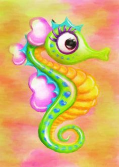 Whimsical, Colorful Seahorse card #Ad , #Sponsored, #Colorful, #Whimsical, #card, #Seahorse