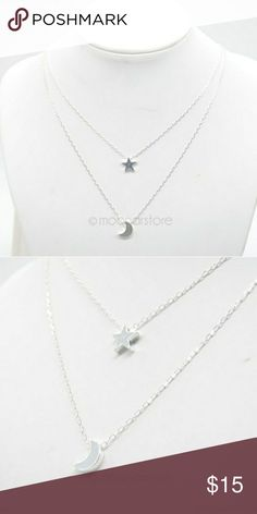 FASHION NECKLACE STAR AND MOON  DOUBLE LAYER  VERTICAL DROP  PENDENT CHARM NECKLACE! Jewelry Necklaces