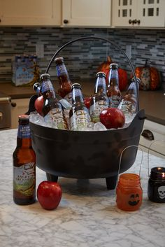 Display your cider in one of Spirit Halloween's creepy cool cauldrons.