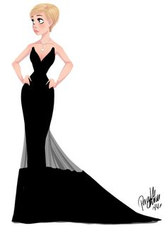 "Elegant Lady, Elegant Black Long Dress / Donna elegante, Vestito elegante nero lungo - Art by Pernille, ""Charlize Theron at the Oscar 2014"""