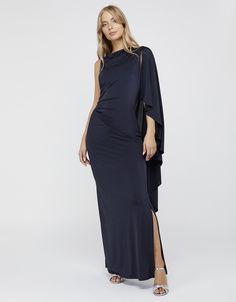 Ophelia One Shoulder Cape Maxi Dress   Navy   UK 8 / US 4 / EU 36   8422896108   Monsoon Shoulder Cape, Cold Shoulder Dress, One Shoulder, Geometric Fashion, Line Shopping, Occasion Wear, Monsoon, Stylish, How To Wear