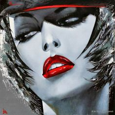 Lady With Cap by Ira Tsantekidou. Oil on Canvas (Serie Pop Art).