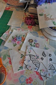 "Making quilts with vintage embroidery. Fussy cuts. HenHouse: A Pleasant Day's ""Work"""