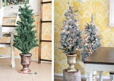 Decorating for the holidays in a DIY stenciled dining room accent wall using the Julia Allover pattern. http://www.cuttingedgestencils.com/julia-wall-stencil.html