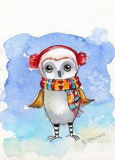 Whimsical Winter OWL Print Children's nursery art on Etsy, $15.00 CAD