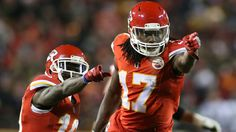 Chris Conley and Tyreek Hill after a long completion to Conley from Alex Smith. Thursday night football against the Raiders