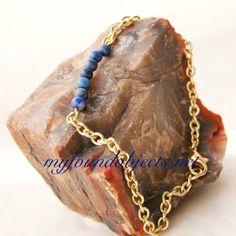 Gemstone Bar Stacking Bracelet, Lapis Lazuli by P. Quinn of My Found Objects #gemstonebracelets #minimalistbracelets #handmadejewelry #handcraftedjewelry #myfoundobjects