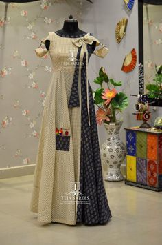 Pinterest • @KrutiChevli Designer Gowns, Indian Designer Wear, Indian Dresses, Indian Outfits, Casual Dresses, Fashion Dresses, Anarkali Dress, Indian Ethnic Wear, Cotton Dresses