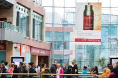 Clarins took advantage of our large scale banners at Bullring! #clarins #creative #OOH #bullring #creative #malladvertising