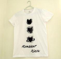 French Cat Print T-Shirt - Monsieur Miaow - Fun Women's Top - Hand Printed Black Print - Quirky & Stylish Cotton, Mustache - White Black