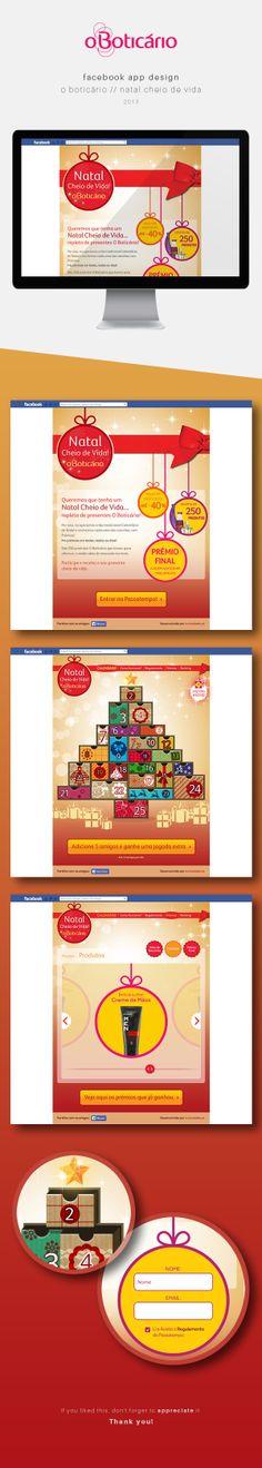 Facebook App / O Boticário / Natal Cheio de Vida by Andrea Sousa, via Behance #webdesign #facebookapp #beauty
