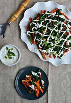 Sweet potato fries and wilted spinach with mint yogurt sauce - a great ...