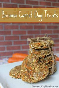 Banana Carrot Dog Treats http://homemadedogtreatsnow.stfi.re/banana-carrot/?sf=yjkblpl