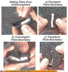 For my teacher friends who teach science. Even I could understand it if taught with this delicious visual! Geology 529: I Get This Now Fun way to teach plate tectonics