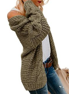 5d3c85e77f52 Astylish Women Open Front Long Sleeve Chunky Knit Cardigan Sweaters Loose  Outwear Coat S-XXL