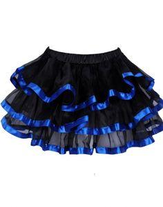 Black and blue tiered chiffon mini petticoat skirt - omdear.com