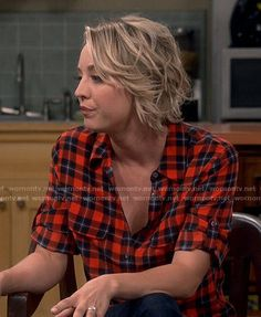 Penny's red plaid shirt on The Big Bang Theory.  Outfit Details: http://wornontv.net/52974/ #TheBigBangTheory
