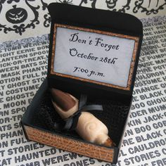 Best Halloween party invitation EVER!!!!  using chocolate and pretzel