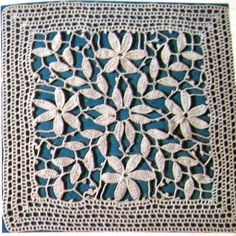 Ivelise Hand Made: Square Lindíssimo In Crochet - This would be beautiful in a dress pattern! - has graphs