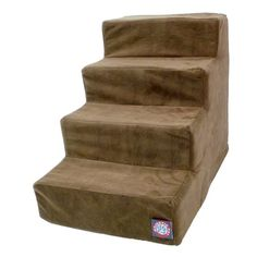 4 Step Chocolate Brown Suede Pet Stairs By Majestic Pet Products In Neutral Tone *** Continue to the product at the image link. This is an Amazon Affiliate links.