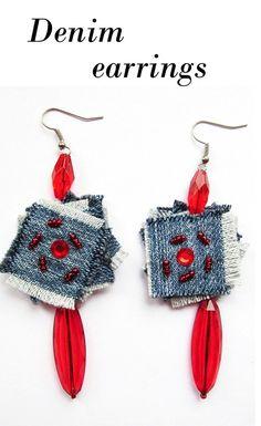 Items similar to Denim jewelry Denim Earrings Jeans jewelry Geometric jeans earrings Raw edges Denim Earrings Denim Blue Denim Earrings Big denim earrings on Etsy Denim Earrings, Denim Bracelet, Fabric Earrings, Tiny Stud Earrings, Simple Earrings, Crochet Earrings, Textile Jewelry, Fabric Jewelry, Denim Crafts