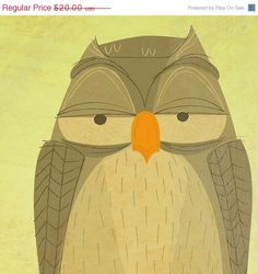 ON SALE 25 OFF Owl Print The Sensible Owl 85 in x by johnwgolden