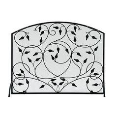 Protect your hearth from flying sparks and embers with our elegant Wrought Iron Leaves Single Panel Fireplace Screen. A simple panel is embellished with graceful, leafy tendrils to make it a lovely fireplace accent as well. Fireplace Garden, Double Sided Fireplace, Fireplace Cover, Shiplap Fireplace, Black Fireplace, Small Fireplace, Fireplace Hearth, Home Fireplace, Fireplace Surrounds
