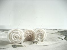 white wool rosettes