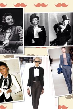 Androgynous Fashion Starting late 20s we all have to thank people like Katharine Hepburn and Marlene Dietrich for showing the beauty in masculine fashion for women, its so chic and classy. Popular designers who favour this look are - Helmut Lang, Giorgio Armani and Pierre Cardin. Armani being my favourite.