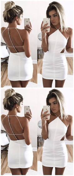 White short prom dress, halter mermaid homecoming dress, spaghetti straps backless cocktail dress 0562 by RosyProm, $110.99 USD