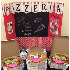 """Shopkins themed birthday party. Backdrop made from display board, scrapbook papers and Shopkins poster. Black paper was used on back so I could write my menu with chalk. Birthday child's picture was used on left side as """"Employee of the month."""" Banner made from canvas banner kit from Michaels, stencils, and black paint. Pizza has large googly eyes from Michaels, and mouths cut from small pink party plates."""