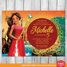 Elena of Avalor Invitation Elena of Avalor by MrPartyInvites