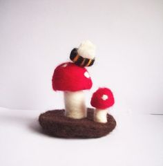 Twin Toadstool with tiny bee  Needlefelted by radishandruth, $16.00