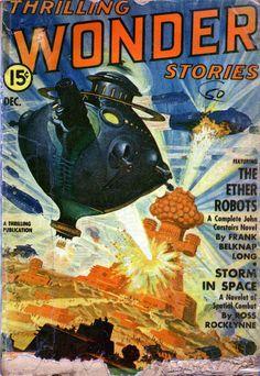 An illustration of Rudolph Belarski, Thrilling Wonder Stories, December 1942