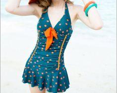 Women Vneck Swimsuit Sexy Skirt Swimsuit Beach by Roseredlip, $28.90