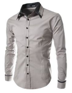 Amazon.com: TheLees Men's long double collar cuff slim dress Shirt: Clothing