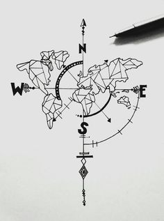 Tattoo compass drawing design ink ideas for 2019 - # for . - Tattoo compass drawing design ink ideas for 2019 – - Map Tattoos, Body Art Tattoos, Tatoos, Tattoo Fonts, How To Draw Tattoos, Heart Tattoos, Skull Tattoos, Ink Drawings, Tattoo Sketches