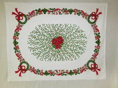Vintage Christmas Tablecloth Holly Wreaths by VintageLinens