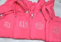 Monogrammed bridesmaid hoodies, gifts for bridesmaid embroidered personalized Monogram Hoodie, Monogram Initials, Teacher Tote Bags, Teacher Appreciation Gifts, Full Zip Hoodie, Bridesmaid Gifts, Hooded Jacket, Hoodies, Trending Outfits