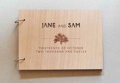 Custom Wedding guest book wood vintage wedding guest book album bridal shower engagement anniversary - Tree of Life. $42.00, via Etsy.