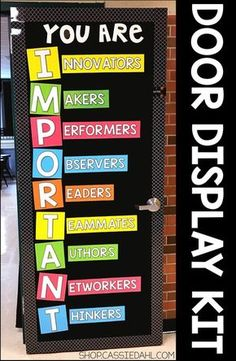 Decorate your classroom door with an inspirational message. All of the pieces are easy to cut and the display fits perfectly on a classroom door or you can use it on a bulletin board! Perfect for back to school or anytime throughout the school year. Classroom Door Displays, Classroom Bulletin Boards, Classroom Rules, New Classroom, Preschool Classroom, Classroom Organization, Bulletin Board Ideas For Teachers, Display Boards For School, Classroom Ideas
