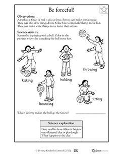 Be forceful! - Worksheets & Activities | GreatSchools free worksheets! 1st Grade Science, Kindergarten Science, Elementary Science, Science Classroom, Teaching Science, Science For Kids, Teaching Kids, Kids Learning, Science Ideas