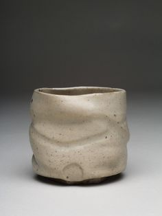 Ábel Lakatos: Cream yunomi, 2015 thrown, woodfired to 1360°C (Olsen Super-S kiln@ ICS Kecskemét)  mixed porcelain with white celadon glaze diameter: 10cm height: 9cm