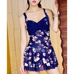 Graceful Women's Sweetheart Neck Flower Print Criss Cross Backless Swimwear #shoes, #jewelry, #women, #men, #hats, #watches