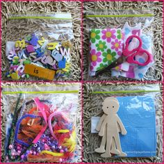 Quiet Box - Foam letter stickers and some high use sight words; Patterned felt and a pair of scissors; Ribbons, Pipecleaners, Beads and Feathers (making jewelry is also popular); Foam people with foam shapes for clothes etc.