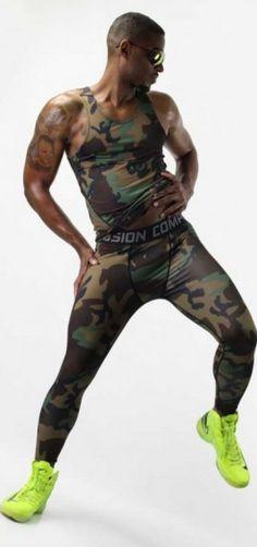 Camouflage Sportswear Set Designed as a 2 piece set ,its lightweight material is a spandex/polyester. |www.differio.com Stylish Mens Fashion, High Fashion, Mens Activewear, Camouflage, Looks Great, Active Wear, Sportswear, Tights, Menswear